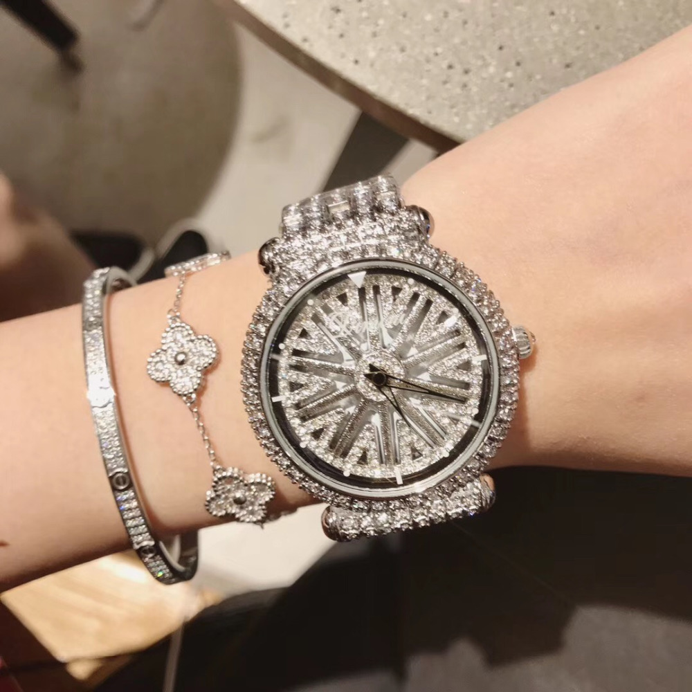 Brand Elegant Silver Bracelet Watches for Women Fashion GOOD LUCK Spinning Watch Full Steel Luxury Crystals Wrist watch Rotating