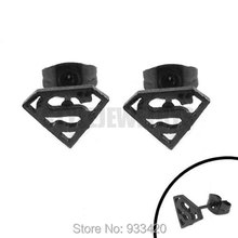 Free Shipping! Black Superman Earring Body Piercing Stainless Steel Jewelry Trendy Motor Biker Earring Studs SJE370135