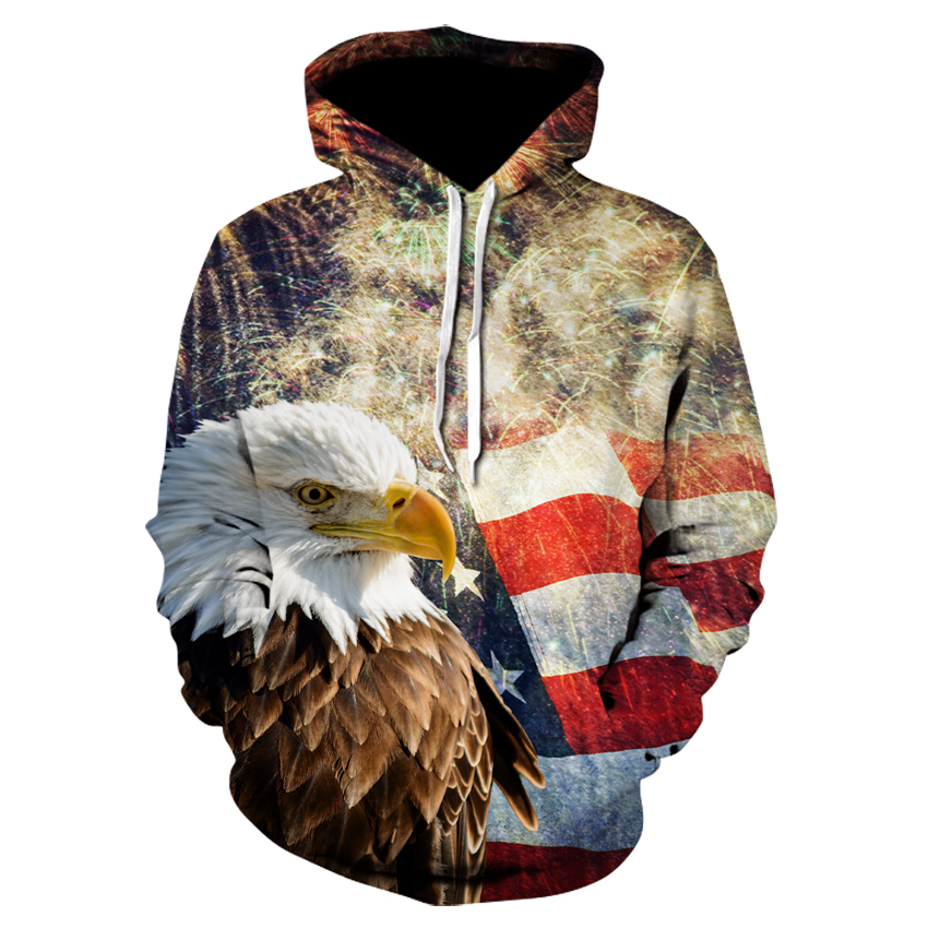 Hoodies & Sweatshirts Devin Du 2018 New Hoodies Man New Year Fireworks American Flag Eagle Hoodie Casual Hooded Sweatshirt Pullover Drop Ship