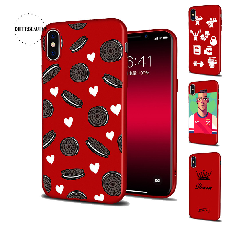 DIFFRBEAUTY Biscuit Cute Sports Equipment Cute Queen Athlete Phone Case Coque For iPhoneX 8 6 7 6Plus 5SE Red Thin Silicone TPU
