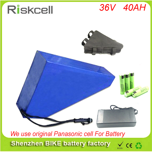 Free customs taxe  36v 1000w triangle e-bike battery 36v 40ah lithium ion battery pack  with 30A BMS ,Charger For Panasonic cell free customs taxes factory 36 volt battery pack with charger and 15a bms for 36v 10ah lithium battery