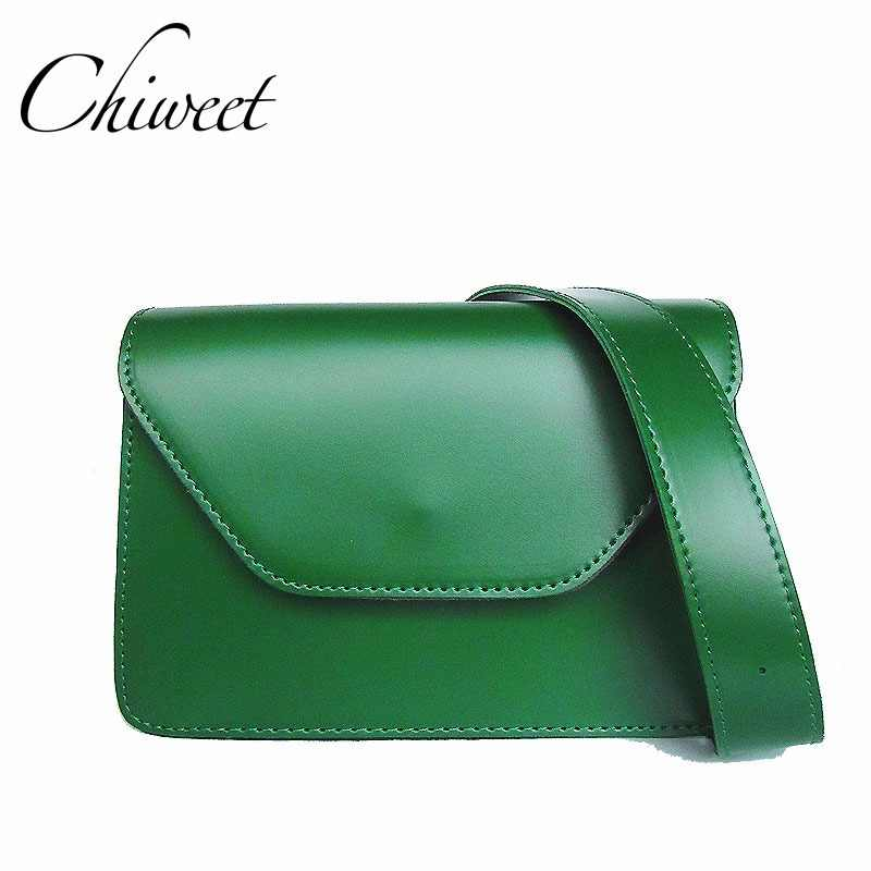 Chic Ladies Vintage Green Messenger Bag Designer PU Leather Luxury Handbags  Women Bag Minimalist Simple Wide 819e6a9d4e