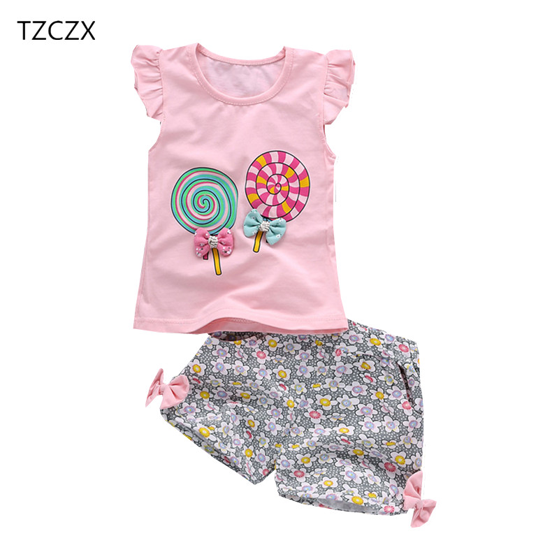 TZCZX New Summer Children Baby Girls Sets Fashion Cartoon Printed Suit For 6 Month to 3 Years Old Kids Wear Clothes kocotree suit for 3 12 years old children unisex cap scarf gloves winter warm three piece sets