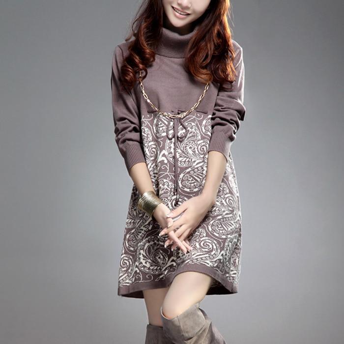 Женская печать цветочные платья свитер высокое качество самки пиджаки пуловеры пальто свитер рубашку бесплатная доставка