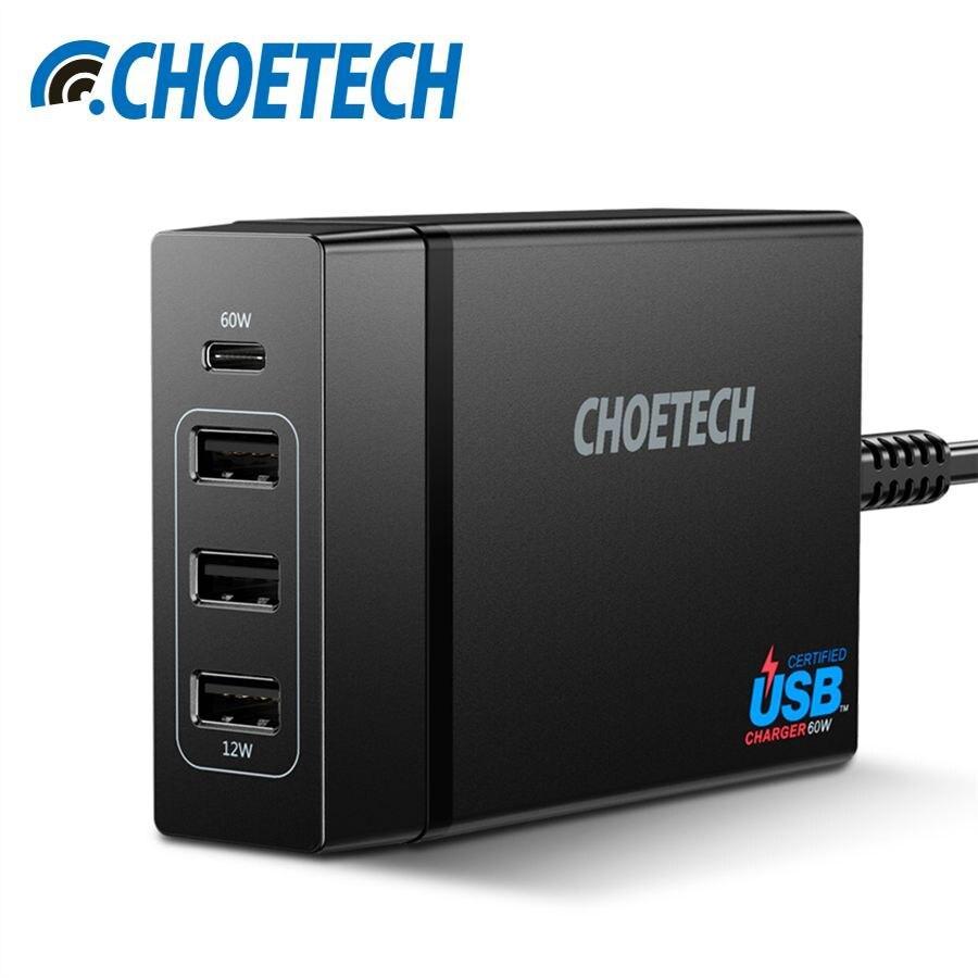 CHOETECH 72 W 4 puertos USB tipo C cargador de escritorio estación con suministro de energía para el iPhone X 8 más MacBook pro teléfono móvil
