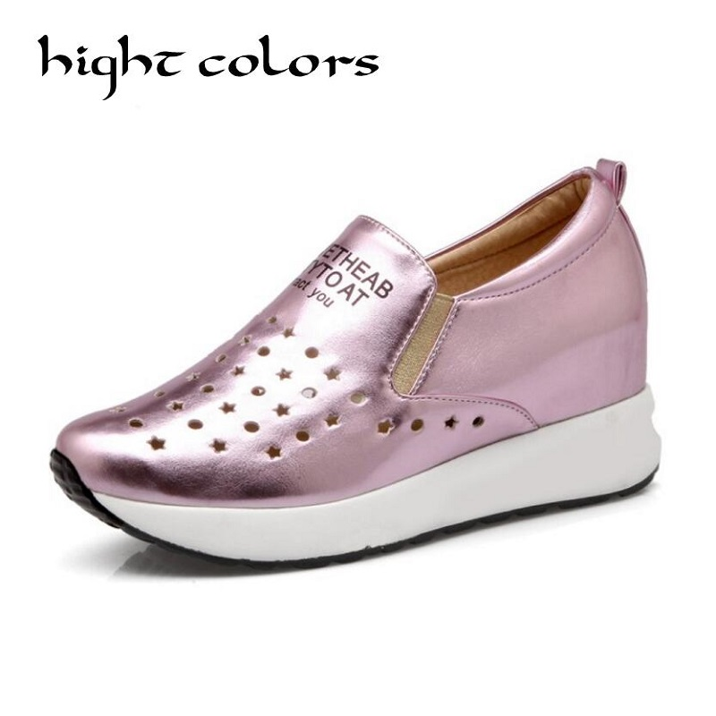 4 Colors Woman Loafers 2018 New Fashion Hollow Designer Flats Shoes For Women Casual Slip-On Brand Platform Casual Shoes US 10 2017 brand new women casual shoes summer breathable walking shoes low net surface flats fashion loafers 4 colors bc 03