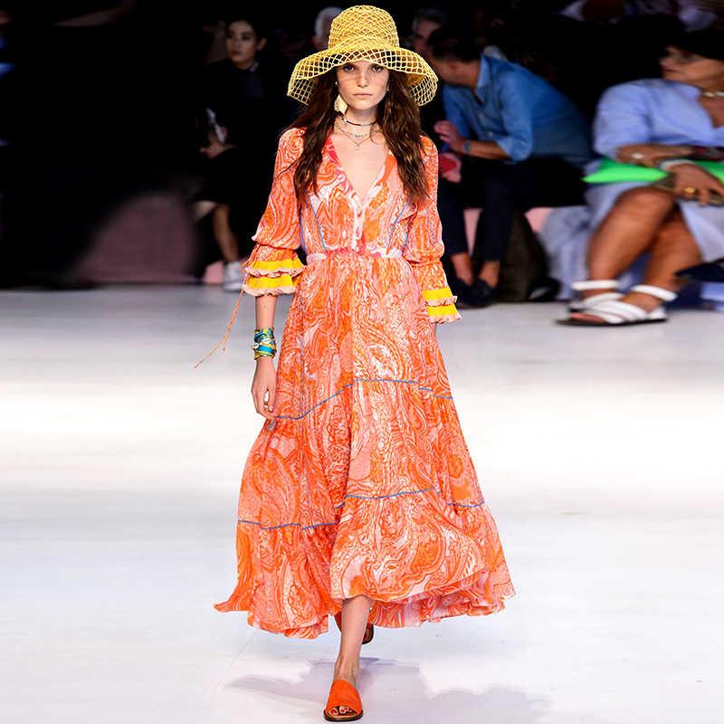 Yüksek Kalite Pist Kadın Elbise Bahar Seksi V Yaka Çiçek Baskı Parlama Kollu Vintage Elbiseler Moda Tatil Parti kadın elbisesi