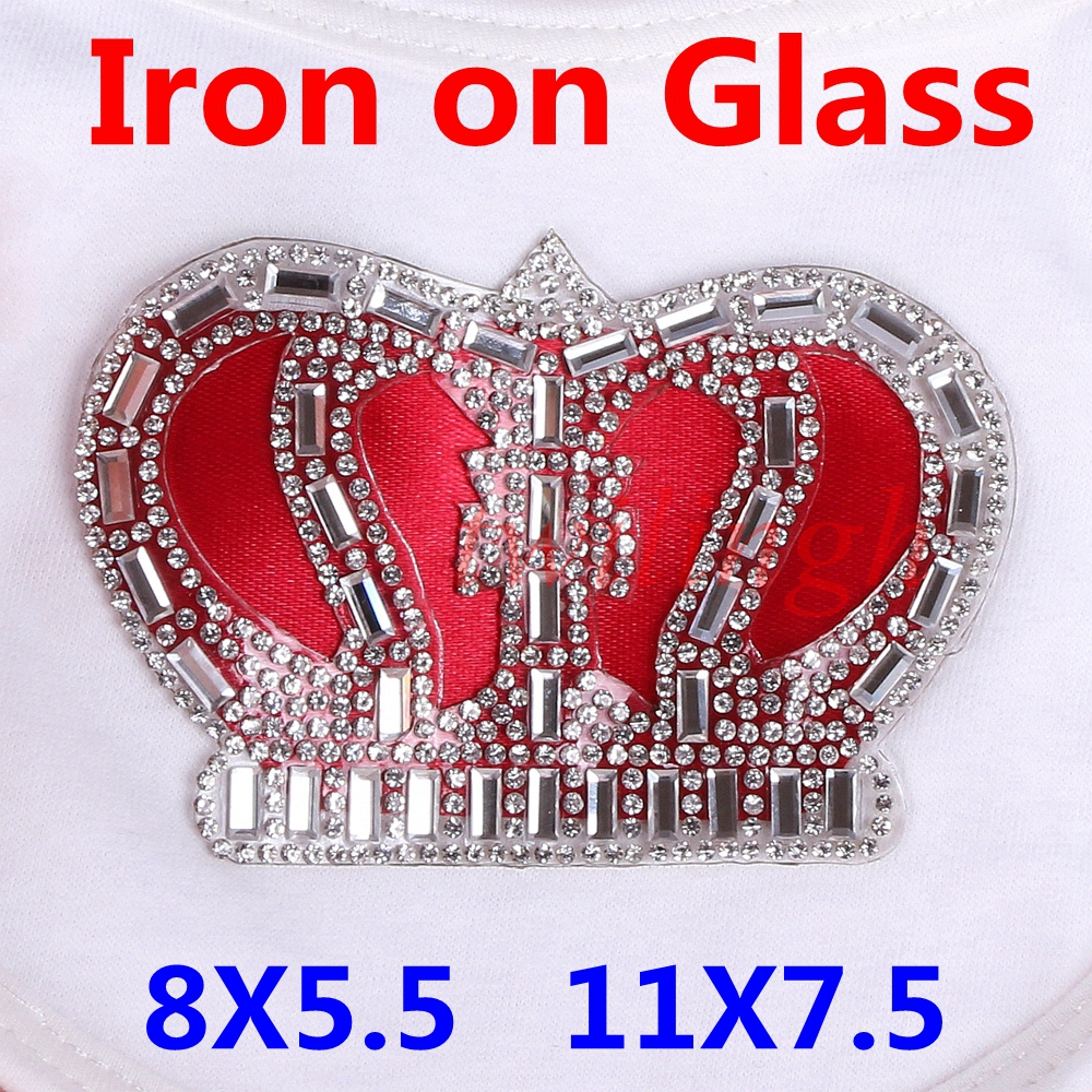 Iron On Patches Crown Shape Clear White Crystal Rhinestone Glass Baby Crown Ironing Patches for Newborn Baby Clothing Set(China)