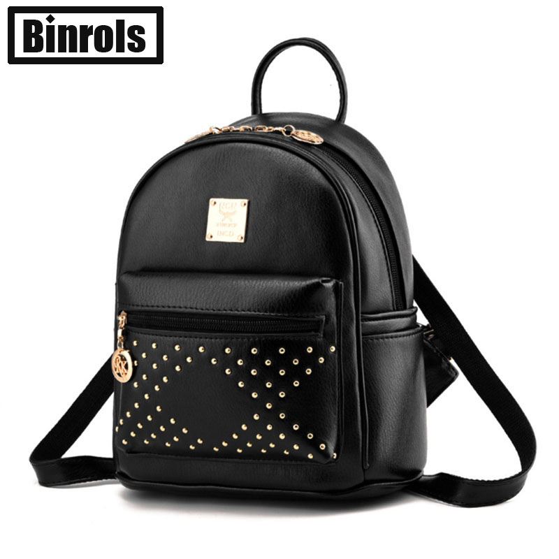Aliexpress.com : Buy 2016 Fashion Rivet Women Leather Backpack ...
