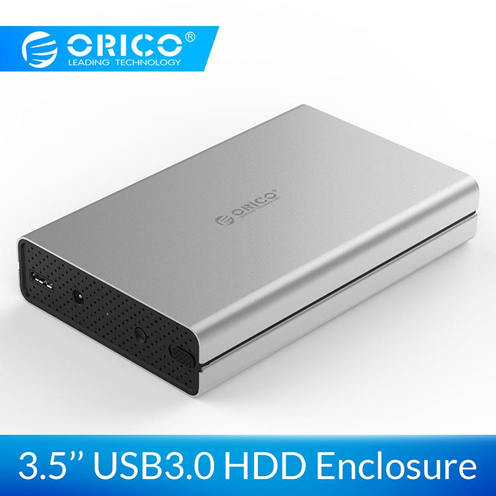 ORICO 3.5 Inch USB3.0 External Hard Drive Enclosure SATA Aluminum Alloy HDD Case 5Gbps Transmission With 12V2A Power Adapter