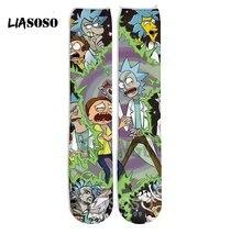 3d print hip hop socks funny Harajuku fashion hip hop streetwear hose shirt Rick Morty logo women men stocking homme hose E665