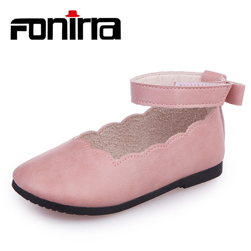 New Design Solid Decorative Border Casual Flat With Shoes Sweet Back Small Bow-knot Girls Comfort Leather Shoes 275