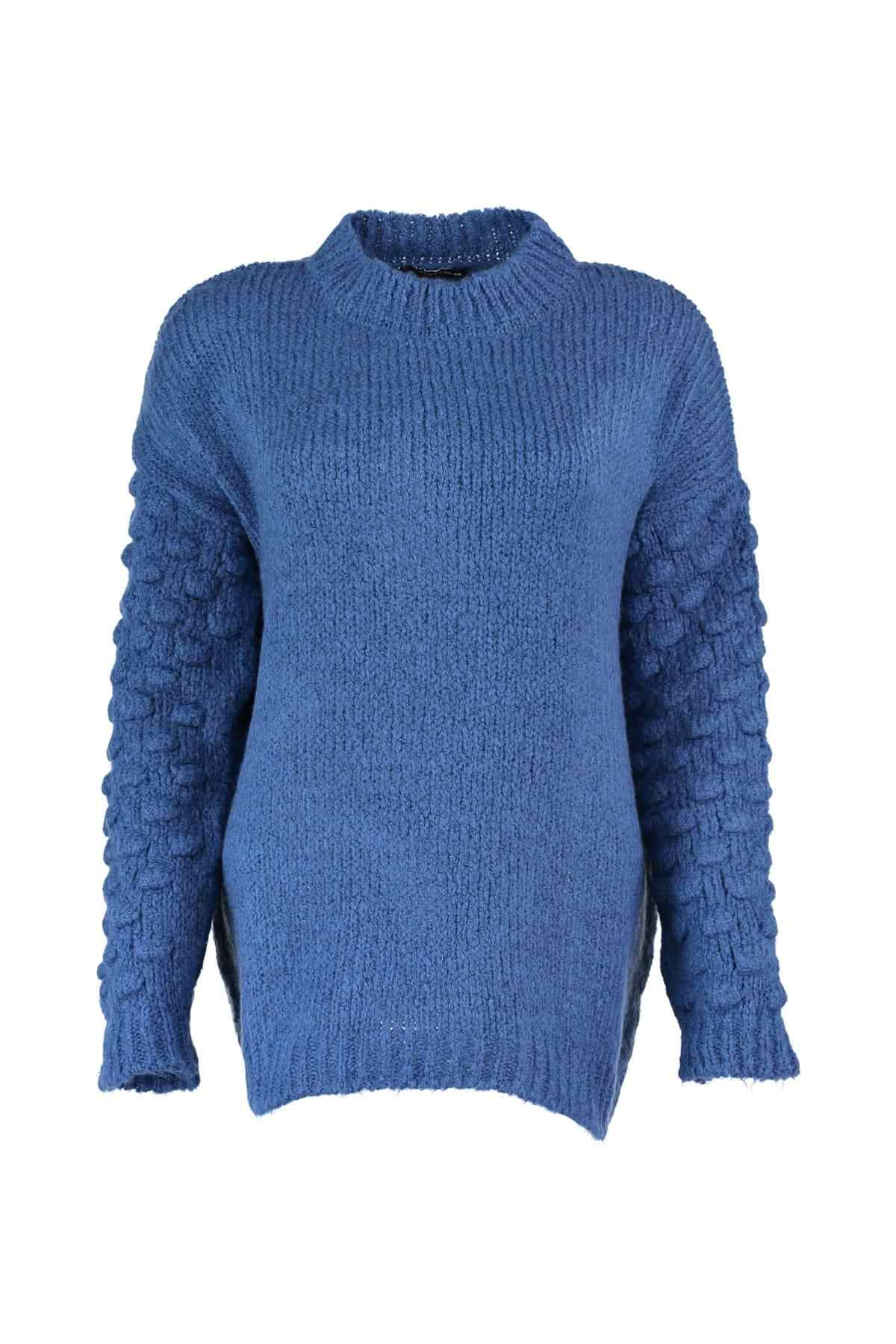 Trendyol WOMEN-Handles Blue Pompom Knitwear Sweater TWOAW20XS0010