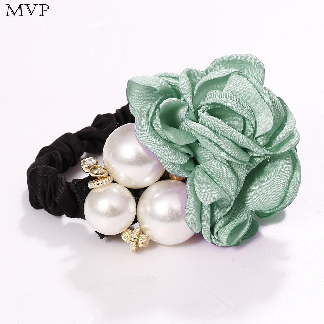Rope Fashion Artificial Pearls Rose Hair Women Elastic Hair Ring Hairbands