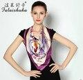 Женщины большие квадрат розовый цветочный печать 100% чистый шелк шарф шарфы 90 * 90 см SK019