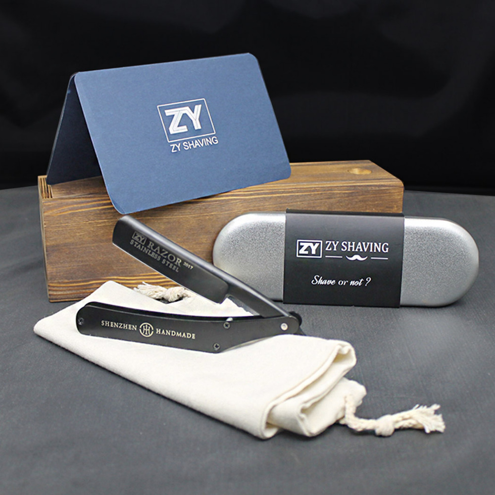2017 ZY Straight Shaving Razor Men Folding Knife Cut Throat Barber Shave Beard Stainless Steel Blade + Free Canvas Bag free shipping wooden handle razor shaving knife razor straight razor hair cut razor trimmer for men