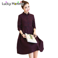 Plaid Maternity Clothes Casual Pregnancy Dress Embroidery Thin Long Sleeve Maternity Clothing Of Pregnant Women Red