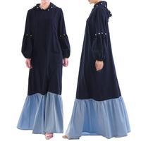 Ramadan Adult Muslim Black Abaya Patchwork Beading Casual Dress Dubai Muslims Women Dresses Islamic Dress Moroccan Kaftan Dress