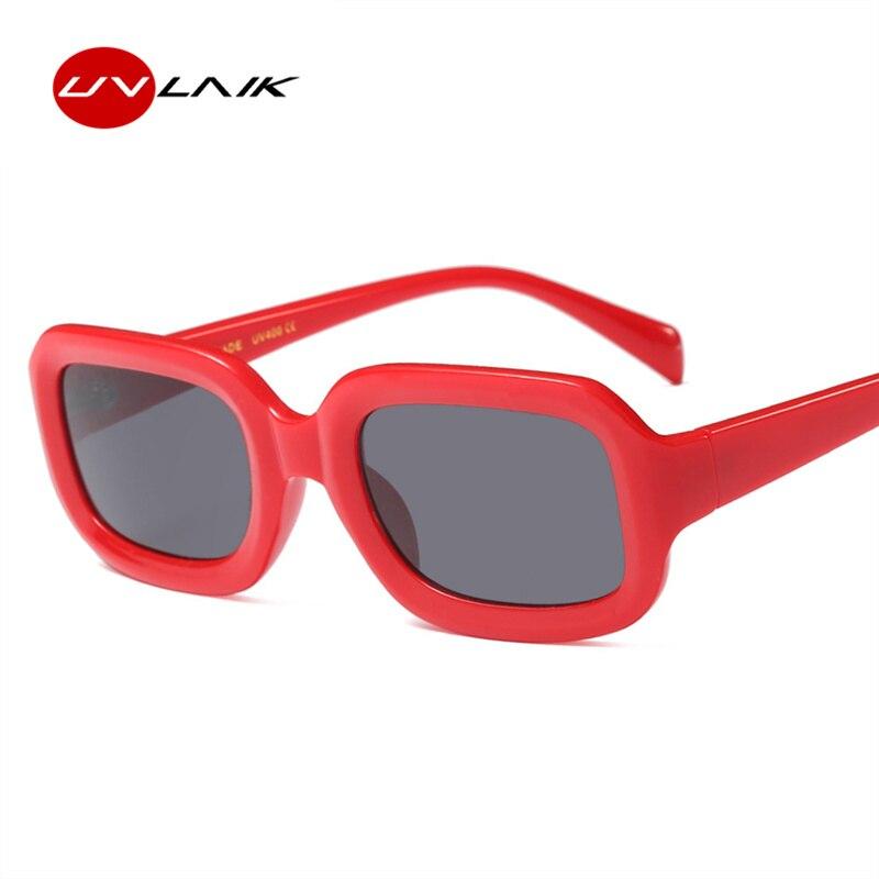 UVLAIK Pequeno Retângulo Óculos De Sol Das Mulheres Retro Design Retangular Vermelho  Preto Homens Óculos de f3b235655f