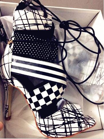 New Designer Black White Peep Toe Geometric Ankle Bootie High Heel Lace-up Women Party Dress Shoes Gladiator Sandals Boot