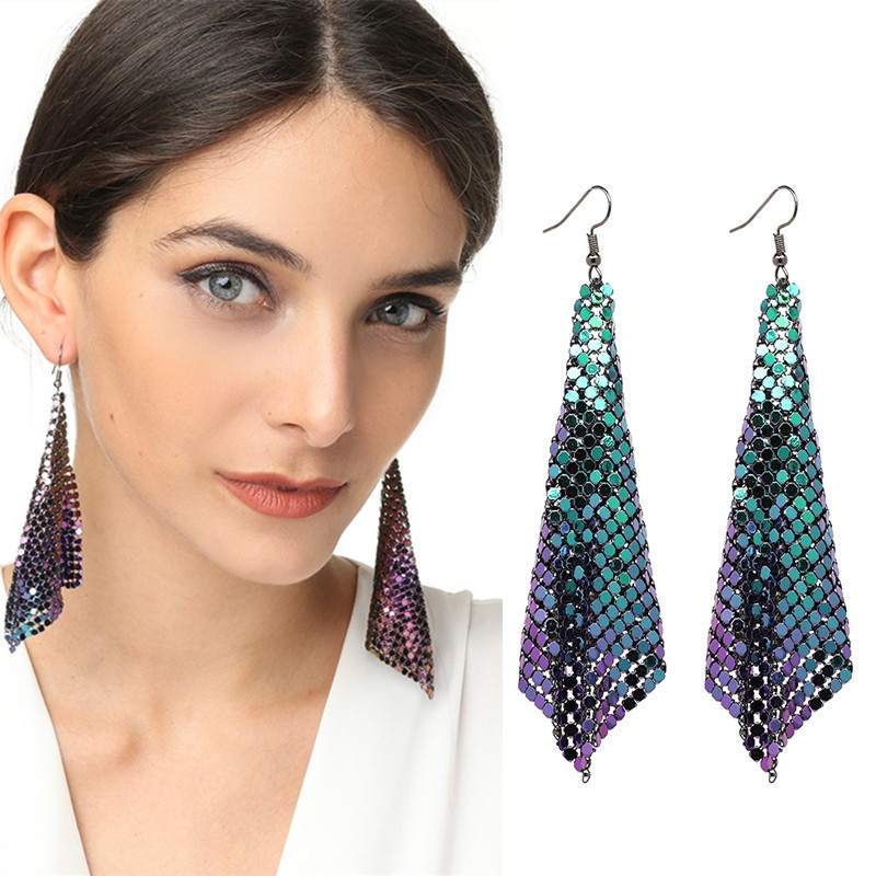 2019 Shiny Sequin Geometric <font><b>Long</b></font> Tassel Dangle <font><b>Earrings</b></font> <font><b>Women's</b></font> <font><b>Sexy</b></font> Metal Mesh Pendant <font><b>Earrings</b></font> Ladies Exaggerated Brincos Gift image