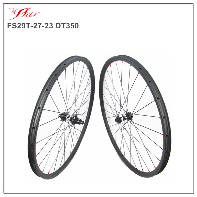 Hottest selling MTB carbon wheelsets 27mm 23mm hookless clincher rims 29er with DT MTB disc hub 6 bolts XD freebody