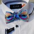 Nuevo Envío de la manera 2016 de Los Hombres ocasionales masculinos serie de plumas de pavo real vestido de banquete de boda único de la pajarita novio regalo promoción
