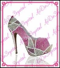 Aidocrystal elegante rosa white glitter hochzeit high heel brautschuhe schuhe für damen