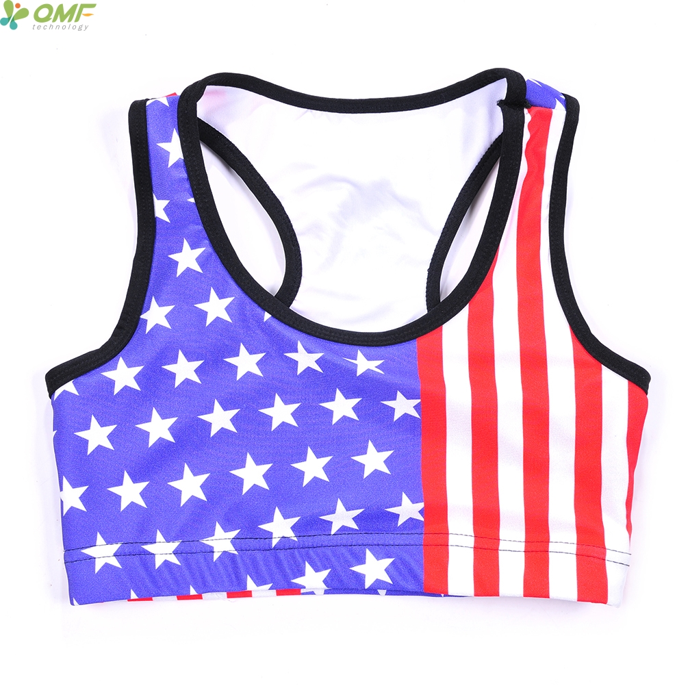 Retro Usa Sports Bras Top Blue Stars Red Stripes Yoga Bra -7048