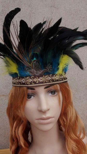 8INCH TALL turquoise Chief feather Headdress Native American costume hand made indian costume feather headband  sc 1 st  AliExpress.com & 8INCH TALL turquoise Chief feather Headdress Native American costume ...