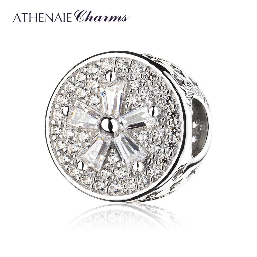 6cfa1a86fb02 ATHENAIE plata esterlina 925 pavimentar claro CZ flor encanto pulseras  regalo de la joyería