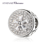 ATHENAIE 925 Sterling Silver Pave Clear CZ Flower Charm Bead Fit Bracelets Jewelry Gift