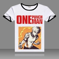Hot Anime One Punch Man T-shirts Black O-Neck Short Sleeve Tops Fashion Saitama Printed Genos Tees for Summers 2