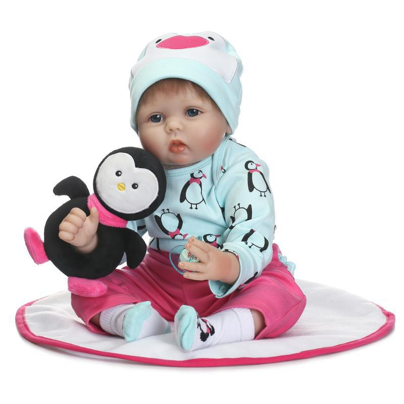 NPK 55cm Silicone Baby Reborn Dolls With Cotton Body Dressed in Penguin Sweater Lifelike Doll Newborn Babies Toys for Girls платья dressed in green платье