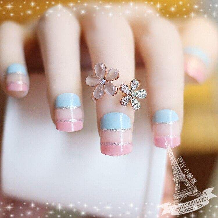 Pink dream Japanese false nails kit Short french fake nails full ...