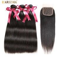 Karizma Brazilian Straight Hair Bundles With Closure Natural Color 4 Pcs Lot Human Hair Weave 3