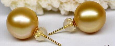 hj 00459 natural 10-11mm AAA++south sea round gold pearl stud earrings 14KGP цена и фото