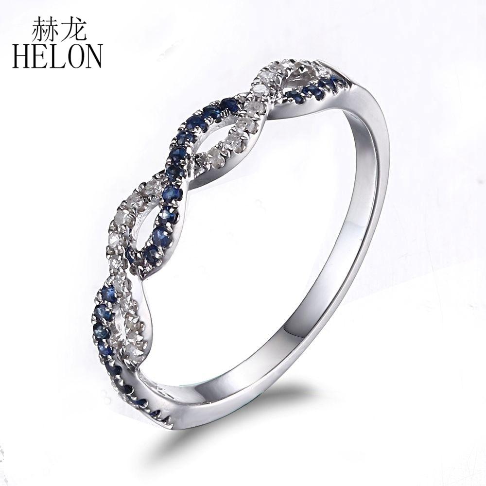 cf1ce41a1837 Helon sólido 10 K oro blanco pavimenta 0.25ct diamantes y zafiros trenzado  compromiso y boda banda mujeres de piedras preciosas anillo de la joyería  en ...