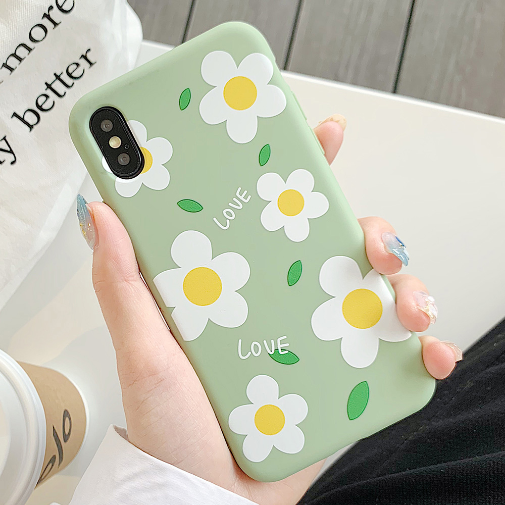 KIPX1113_1_JONSNOW Matte Phone Case for iPhone 6S 6P 7 8 Plus Small Daisy Pattern Soft Silicone Cases for iPhone X XR XS Max Capa Fundas