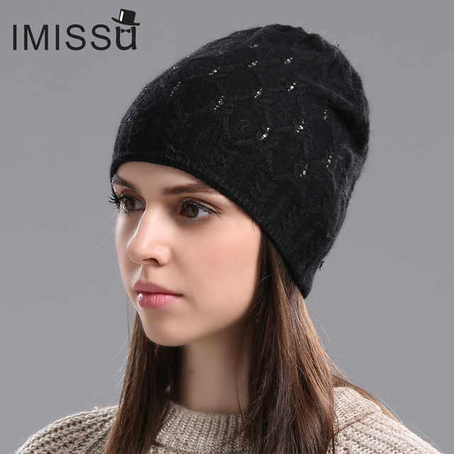 IMISSU Women Wool Hat for Winter Real Cashmere Beanies Women's Casual Caps 2017 Brand New Year Fashion Thick Warm Hats
