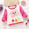 9M-4Years Pouco Meninas Roupas Outono Inverno Engrossar Lã Quente Tricô Ourwear Meninas Do Bebê Roupas Camisola