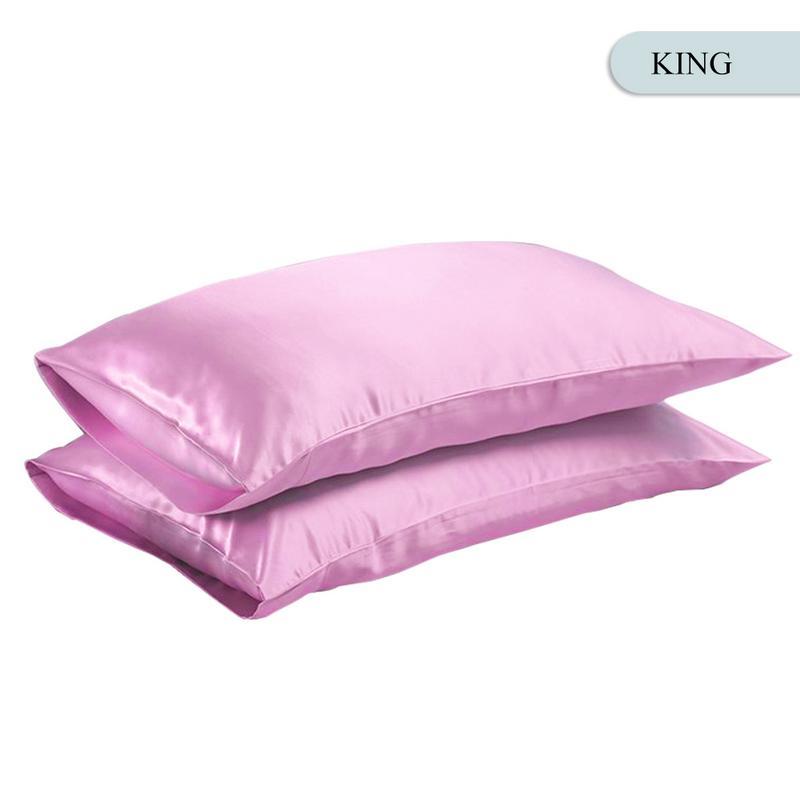 Queen/KING Silk Satin Pillow Case Bedding Pillowcase Smooth Home White Black Grey Khaki Sky Blue Pink Sliver 8