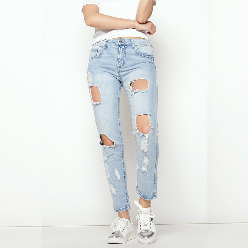 New Women Denim Skinny Ripped Ankle-length Jeans Pants High Waist Hole Destroyed Stretch Jeans Slim Pencil Trousers Rompers fashion brand women jeans high waisted denim jeans ripped trousers washed vintage big hole ankle length skinny vaqueros mujer