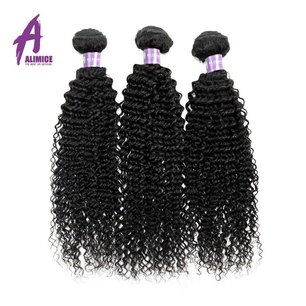 Alimice монгольской странный вьющихся волос 100% Номера для человеческих Синтетические волосы соткут 3 Связки машина двойной утка природы Цвет в...