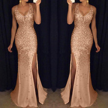 Women Sequin Pure Color Gold  Fashion Bridesmaid Sleeveless V Neck Split Dresses
