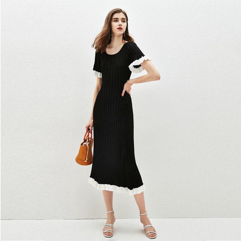 2019 été SANDRO Style robe de piste femmes élégant volants tricot robe Midi femme volants bureau dame robes noires