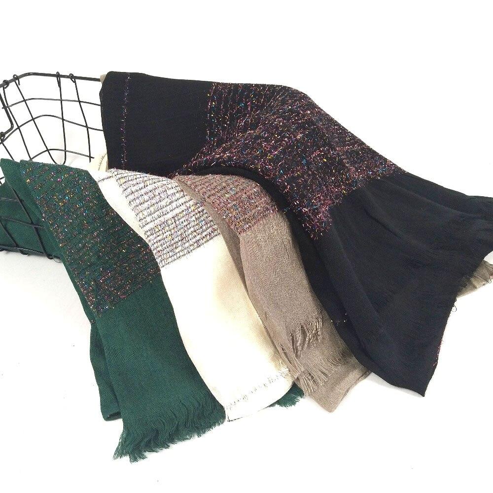 J92  Popular Shinny Cotton  Plain Long Shawls Hijab Long Elastic Muslim Autumn Soft Headband  Scarves/scarf 180*80cm 10pcs/lot