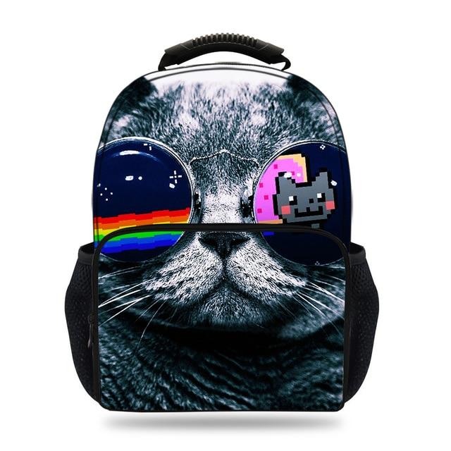 30dc0e58e0 15inch 3D Printing Backpack Cat School Bags For Boys Girls Felt Animal  Backpacks For Children Teenagers