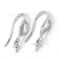 5 pairs 925 Sterling Silver Zircon Stones Ear Wire Hooks Earring Findings Clasp Accessories For DIY Jewelry Making SEA-EH007