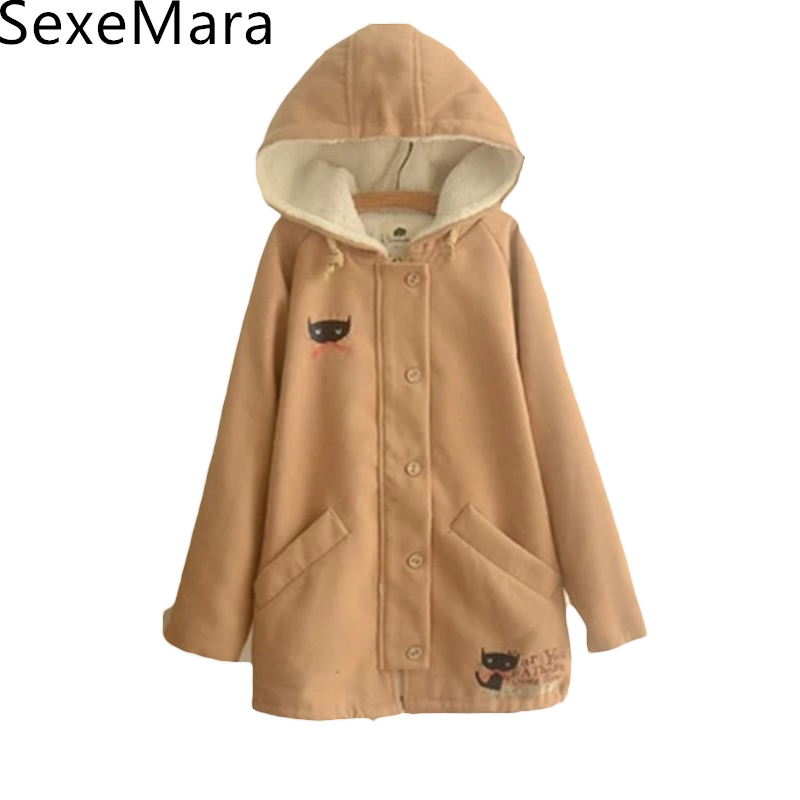 2017 Cat Embroidery With Cashmere Hoodie Coat Girls Thicken Wool Coat Women Winter Cotton Padded Jackets Female Parka C545